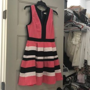 Boutique Striped coral, navy, white dress.